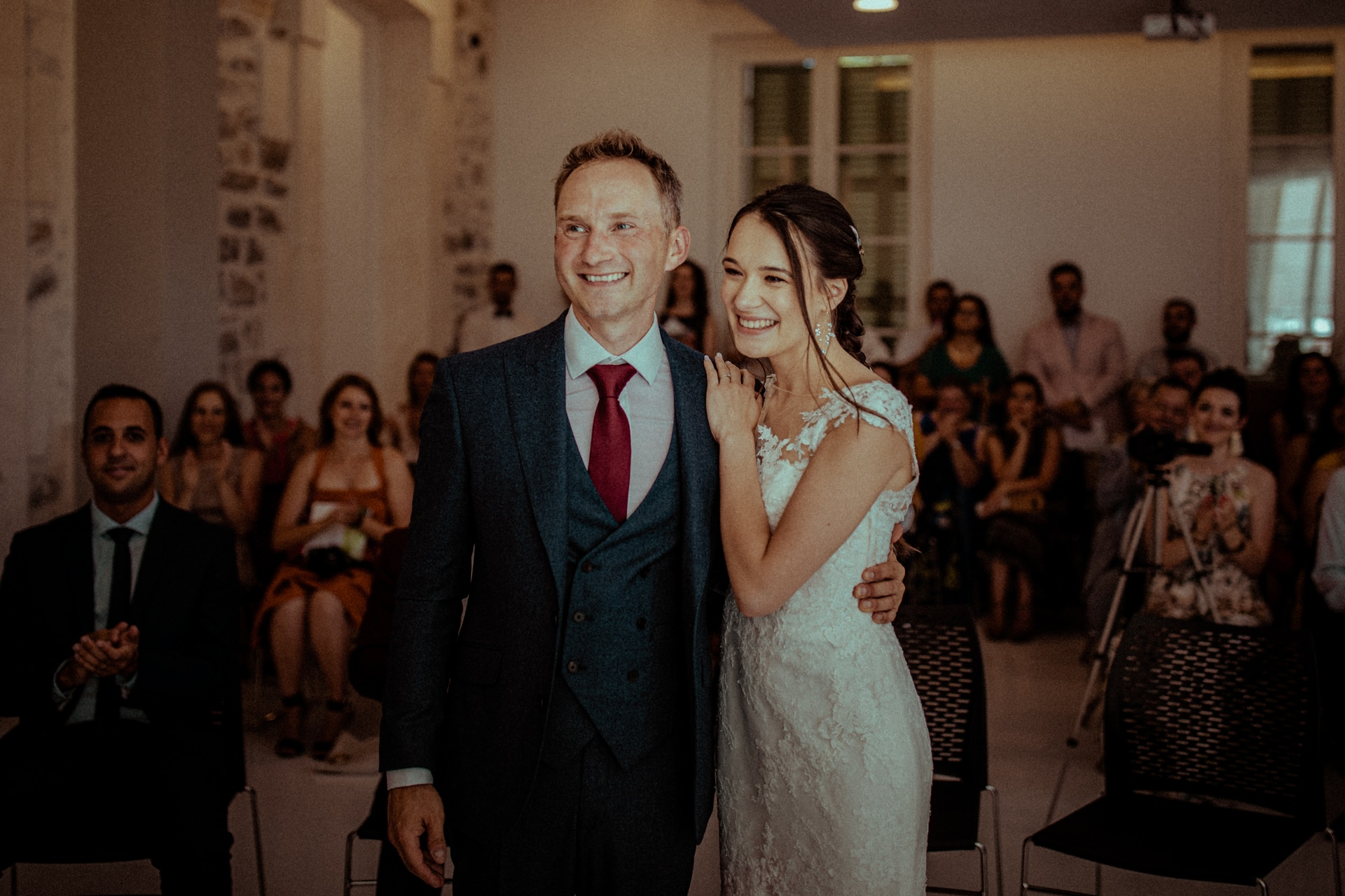 newlyweds happy during the civil part of their wedding