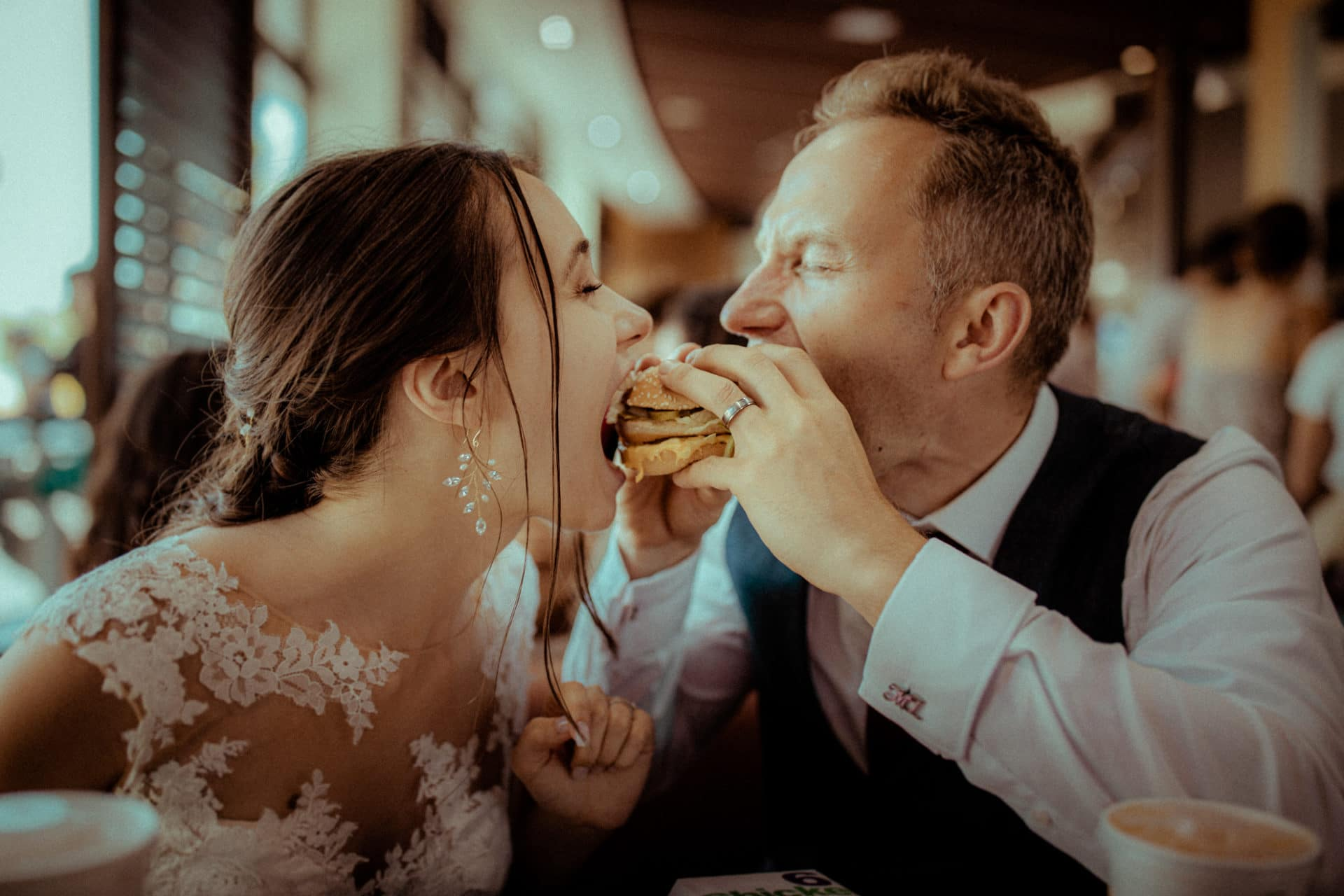 bride and groom at mcdonalds