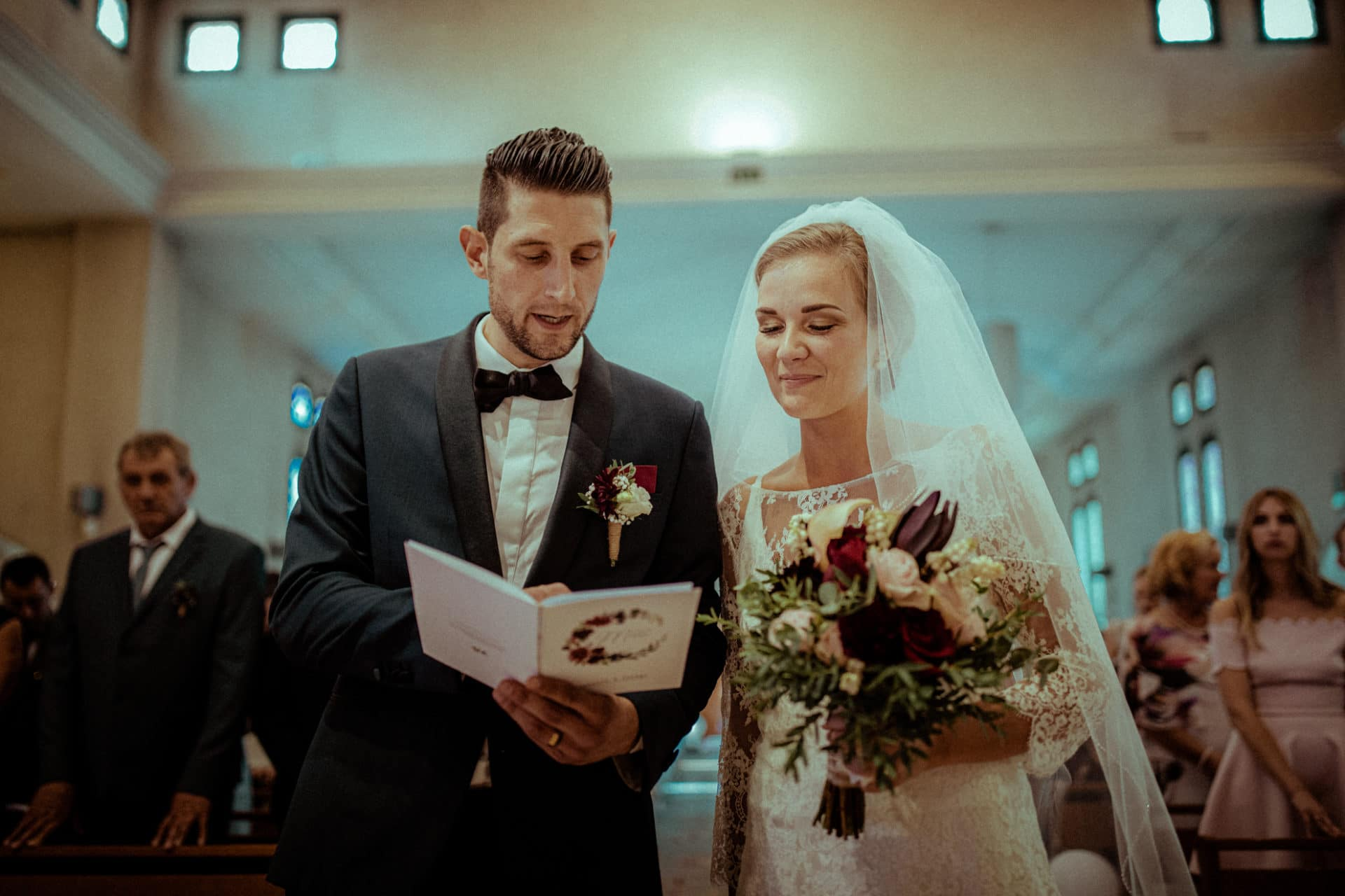 destination wedding photographer church newlyweds