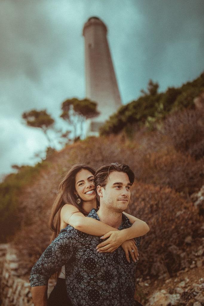 photos couple sur la cote azur phare saint jean cap ferrat