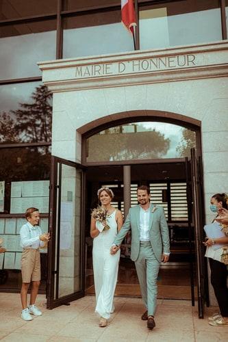 photographe de mariage sortie de mairie